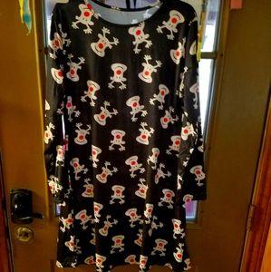 Long Sleeve Reindeer Dress Size XXL